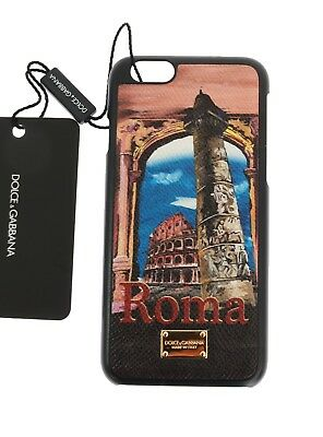 NEW DOLCE & GABBANA Phone Case Skin Leather Roma Print Gold Logo iPhone6
