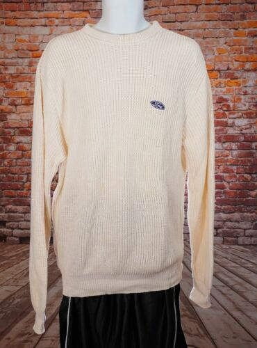 dead stock Vtg 1990 Era Vantage Pullover Work Cream Ivory Sweater Ford XL