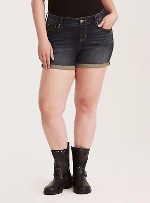 Torrid Skinny Short Shorts Dark Wash W/ Rolled Hem & High Rise Waist 14 #58100
