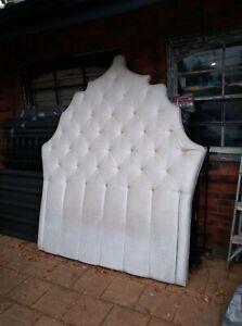 Snow white velvet bed head