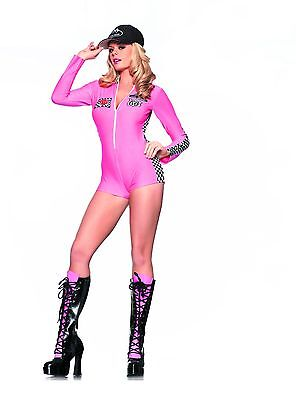 Racing Driver Halloween Costume (Sexy Adult Halloween Be Wicked Women's Pink Racer Race Car Driver Romper w)