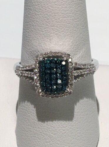 NWT VENICE BLUE DIAMOND (I1-I2) PREMIUM CLARITY RING SIZE 10 (0.50 CTW) 925 SS
