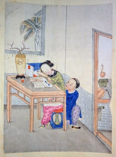 19C Chinese Erotic Pillow Color Paintings for Newly Married Couple (SoM)#9