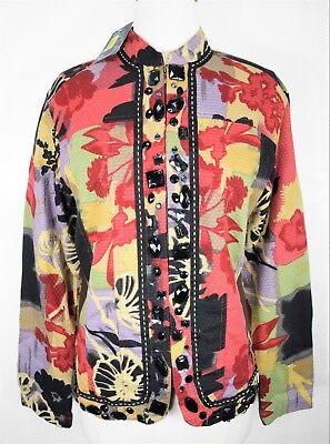 Investments Floral Beaded Full Zip Jacket Women's Size Medium Long Sleeve NWT Full Sleeved Beaded Jacket