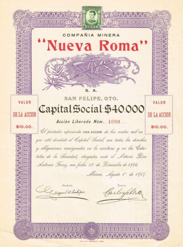 MEXICO COMPANIA MINERA NUEVA ROMA MINING BOND stock certificate 1907