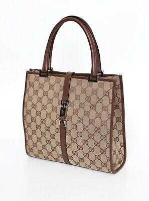 GUCCI Jackie canvas leather monogram handbag vintage 01715 002058