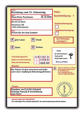 urtstag Einladungen Krankschreibung Krankmeldung 10 40 50 60 (Einladungen Geburtstag)