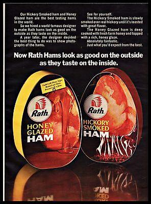 Hickory Honey - 1969 Rath Honey Glazed Hickory Smoked Ham Vintage PRINT ADVERTISEMENT 1960s