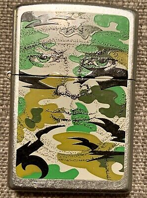 Vintage Zippo Army Camo Camouflage Lighter Green Matte Finish NEW INSERT
