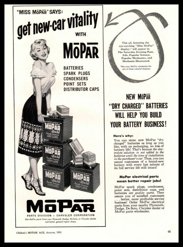 "1955 MoPar Busty ""Miss MoPar"" Dealer Sales Materials Vintage Chrysler Print Ad"