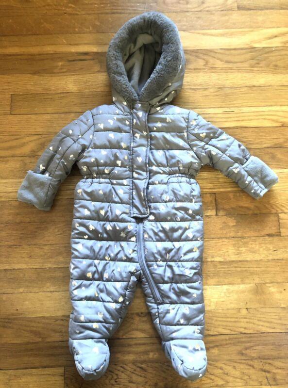 Tahari Faux Fur Trim Heart Foil Gray Snow Suit Bunding Baby Size 6-9 Months