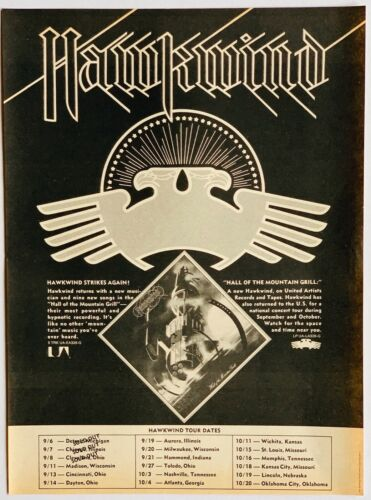 HAWKWIND 1974 original POSTER ADVERT HALL OF THE MOUNTAIN GRILL CONCERT TOUR