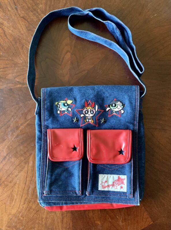 Powerpuff Girls Denim Messenger Bag By Cartoon Network Used Rare