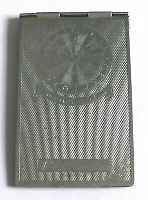 AN ART DECO CHROME PLATED DARTS SCORE PAD HOLDER