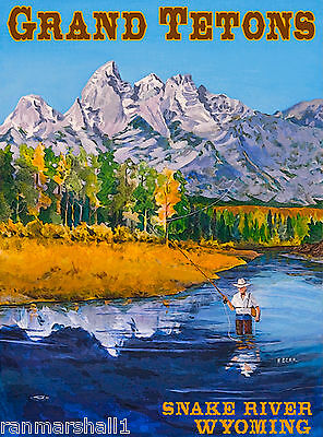 Grand Tetons Snake River Wyoming United States Travel Advertisement Art Poster