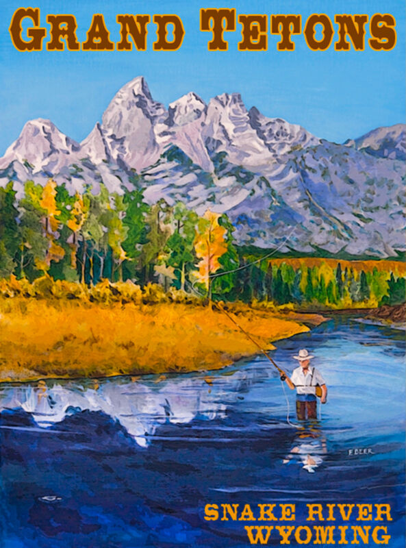 Grand Tetons Snake River Wyoming United States Travel Advertisement Art Poster