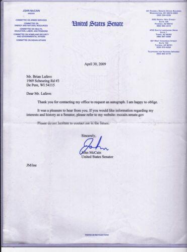 2009 John McCain Signed Letter on United States Senate Letterhead