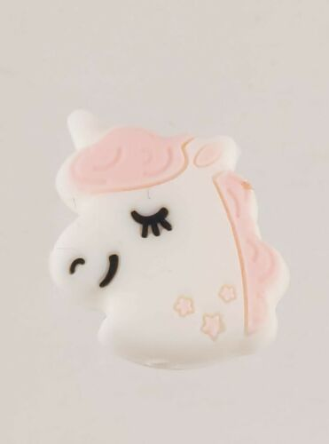 Unicorn Pony Silicone Accent Bead Crafty Decoration 2.5cm tall Light Pink Hair