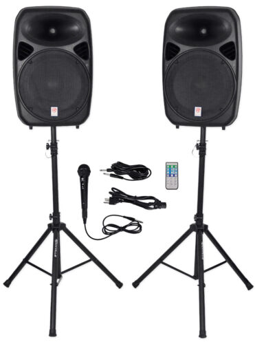 "Rockville Dual 15"" Powered Speakers, Bluetooth+Mic+Speaker S"