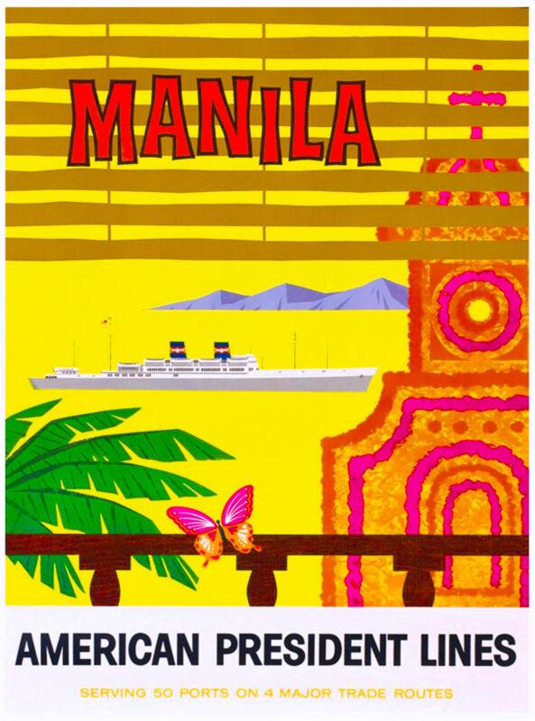Manila Philippines Oceanliner Ship Vintage Travel Advertisement Art Poster