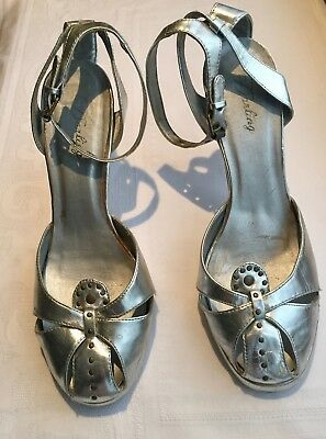 Chaussure, escarpin, pointure 39, talon, bride, vintage, argentée