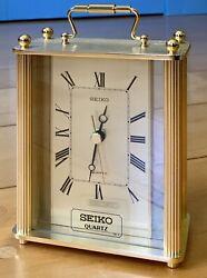 BRAND NEW VINTAGE Seiko Desk Clock Rare Quartz- Gold Tone ROMAN NUMERALS