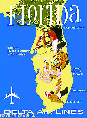 Florida Palm Beach United States America Vintage Travel Advertisement Poster