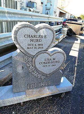 Cemetery headstone  monument, 100% granite, gray, Stacked Hearts design
