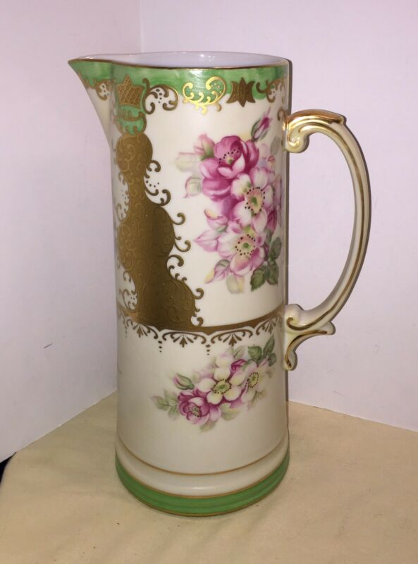 "VINTAGE Beautiful HAND PAINTED NIPPON 10"" TALL PITCHER Floral W/GOLD"