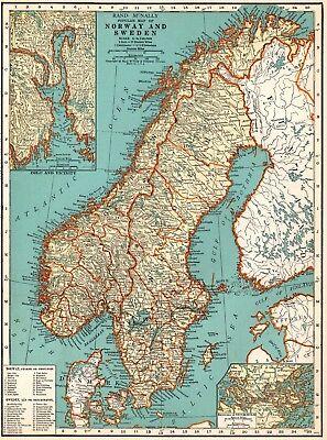 1937 Vintage NORWAY & SWEDEN Map Antique Map of Sweden Gallery Wall Art 5271