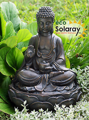 Sitting Buddha Water Feature Fountain Solar Powered Metal Effect Indoor Outdoor