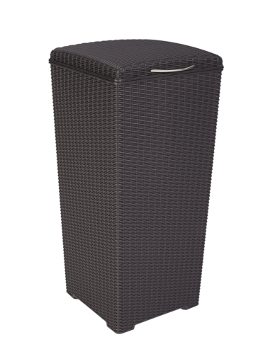 Keter Pacific 30 Gal. Outdoor Resin Wicker Waste Basket Tras