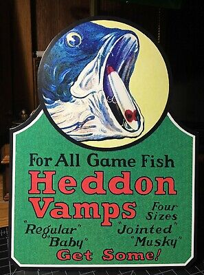 REPRO Heddon Vamps Fishing Lures Standing Advertising Die Cut