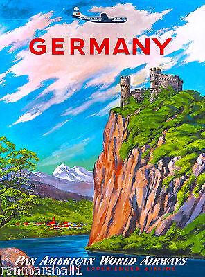 Germany German Airplane Europe European Vintage Travel Advertisement Art Poster