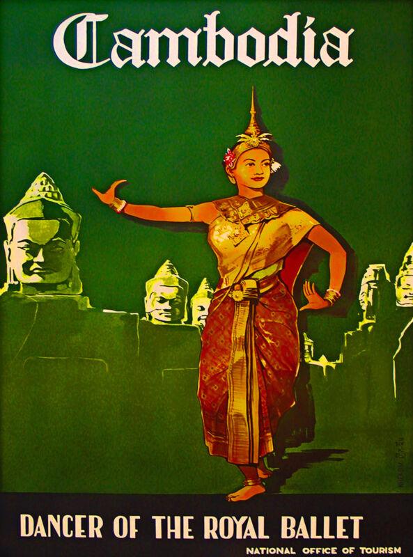 Cambodia Dancer Royal Ballet Asia Asian Vintage Travel Advertisement Art Poster