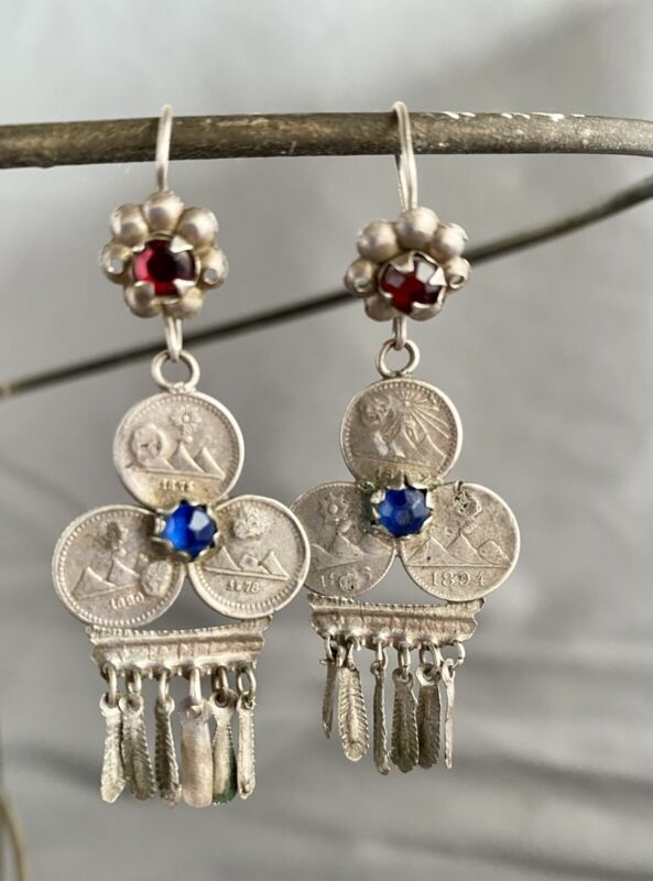Antique Mayan Guatemalan Silver Coin Chandelier Earrings ca. early 20th century