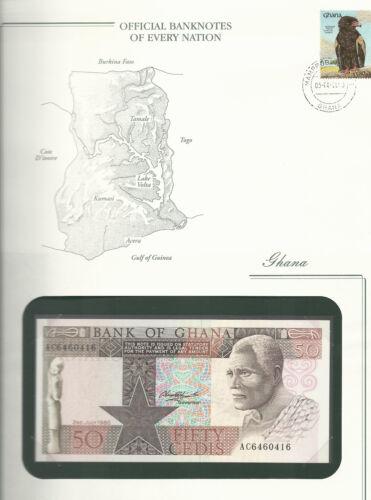 Banknotes of Every Nation Ghana 1980 50 Cedis  P 22b UNC Prefix AC