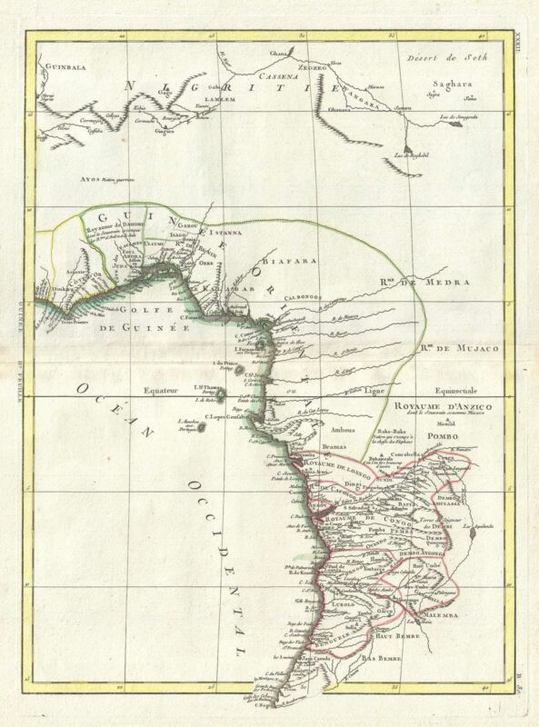 1778 Bonne Map of West Africa (Guinea, the Bight of Benin, Congo)