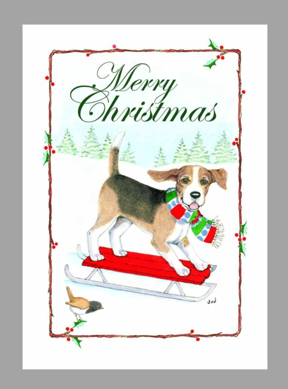 Beagle Dog Christmas Cards, Box of 16 Cards & 16 Envelopes