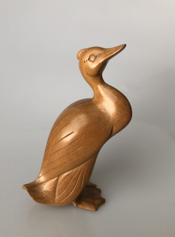 Hand Carved Njana Tilem Gallery Mas Bali Wood Duck Sculpture Signed 4.75 Inches