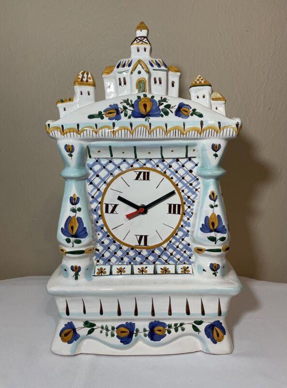 Gzhel Hand Painted Signed Russian Folk Art Pottery Village Scene Mantel Clock