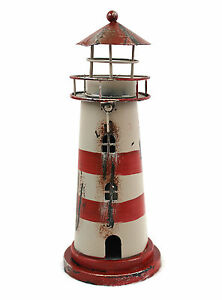 Deko Leuchtturm Teelichthalter Blech Metall 23cm rot-weiss Windlicht Laterne