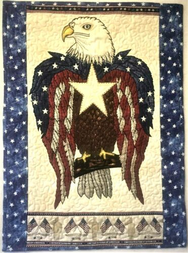 """""""American Eagle""""; Detailed Quilted Patriotic Wall Hanging (19"""" x 26"""")"""