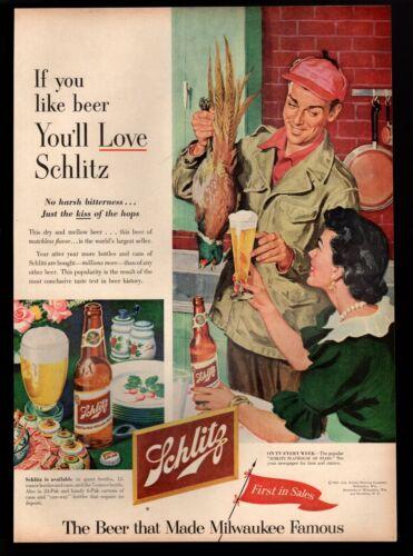 Original 1953 Schlitz Beer Pheasant  Hunter Milwaukee Wisconsin Print Ad