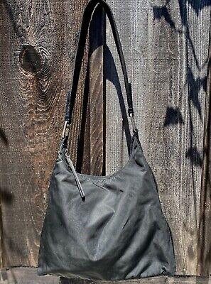 PRADA Vintage Tessuto Sport BLACK NYLON ZIP Top Leather Trim Shoulder Bag *RARE*