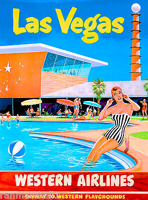 Las Vegas Nevada Airlines United States America Travel Advertisement Poster