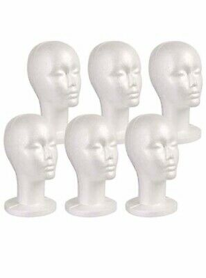 Studio Limited Styrofoam Mannequin Head White Foam Wig Head Display 6pack New