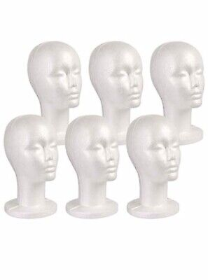 Studio Limited Styrofoam Mannequin Head White Foam Wig Head Display 6pack New