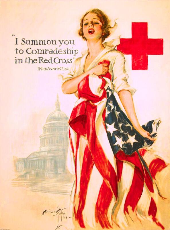 Summon You Red Cross WWII American Patriotic Nurse Advertisement Poster Print