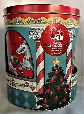 Musical Carousel Tin Christmas Theme Plays Walking in the Winter Wonderland
